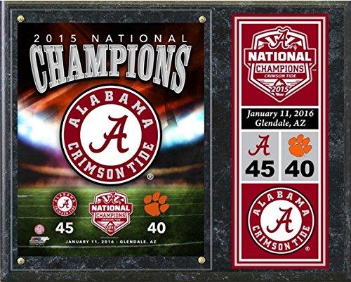 "NCAA Alabama Crimson Tide 2015 Football National Champions Wood Plaque (Size: 12"" x 15"")"