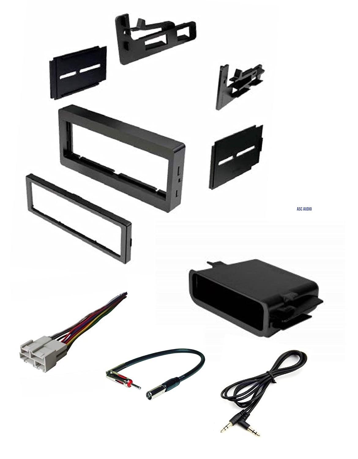 Car Stereo Dash Kit, Wire Harness, Antenna Adapter, Pocket for Installing a Single Din Radio for some 95-02 Chevrolet Astro Avalanche Express Silverado Suburban Tahoe GMC Sierra Yukon - No Premium Amp