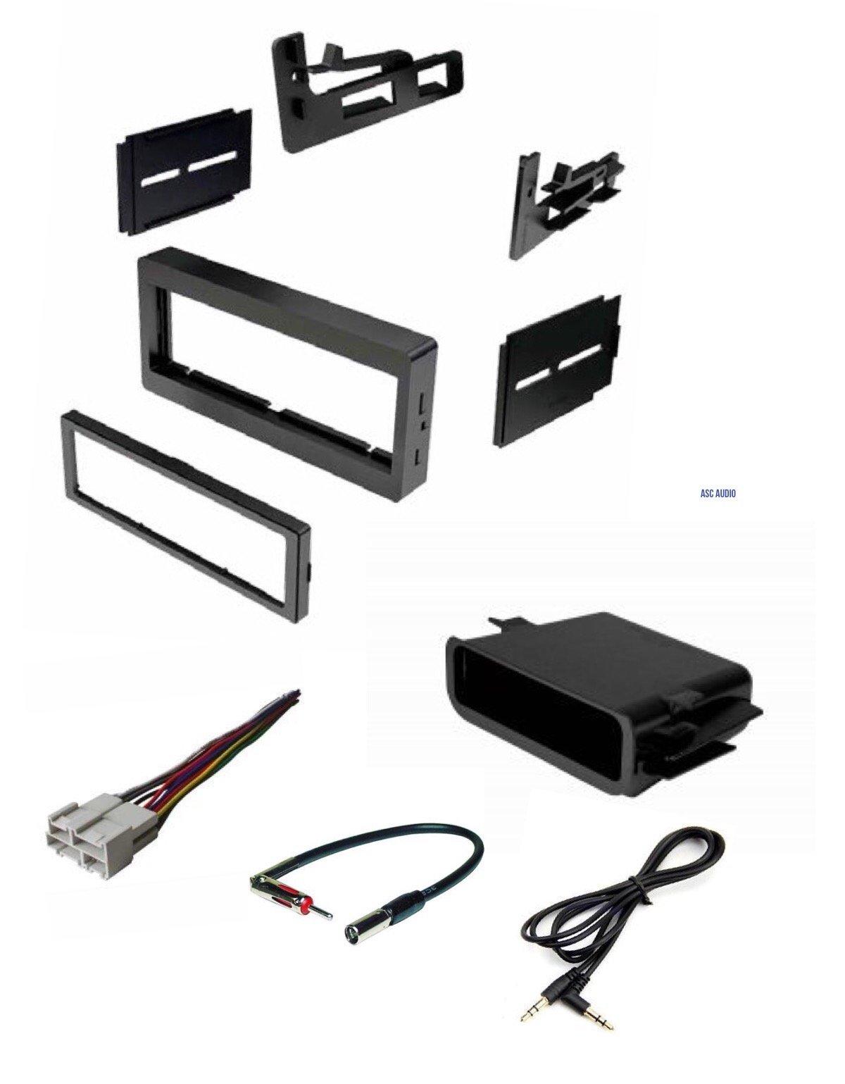Car Stereo Dash Kit, Wire Harness, Antenna Adapter, Pocket for Installing a Single Din Radio for some 95-02 Chevrolet Astro Avalanche Express Silverado Suburban Tahoe GMC Sierra Yukon - No Premium Amp