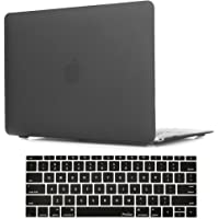 MacBook 12 Inch Case A1534 ProCase Rubberized Hard Case Shell Cover with Hollow Out Silicone Keyboard Skin Cover for Apple MacBook 12 with Retina Display A1534 -Black