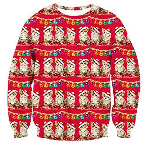 Men's Xmas Sweater Cute Santa Cat Print Ugly Christmas Sweatshirt -