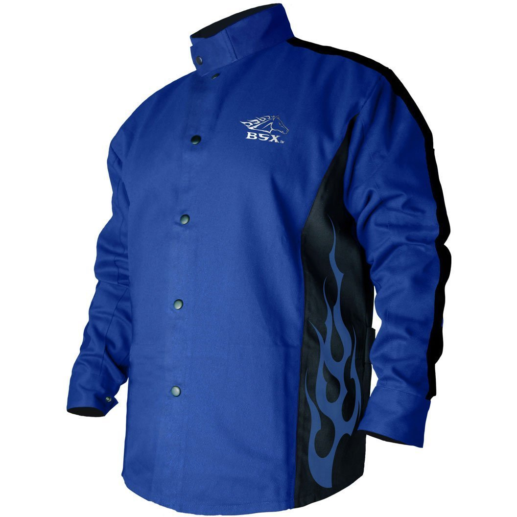 Black Stallion BSX FR Welding Coat - Roy. Blue/Black - XL by Revco