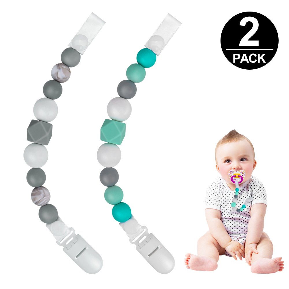 Pacifier Clips, Komake 2 in 1 Teether Pacifier Clip Chewable Silicone Teething Beads BPA Free Binky Holder for Girls, Boys, Teether Toys, Soothie, Mam, Drool Bibs, 2 Pack (Green, Gray)