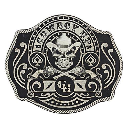 [Montana Silversmiths Men's Silver Cowboy Up Belt Buckle Silver One Size] (Silver Buckle)