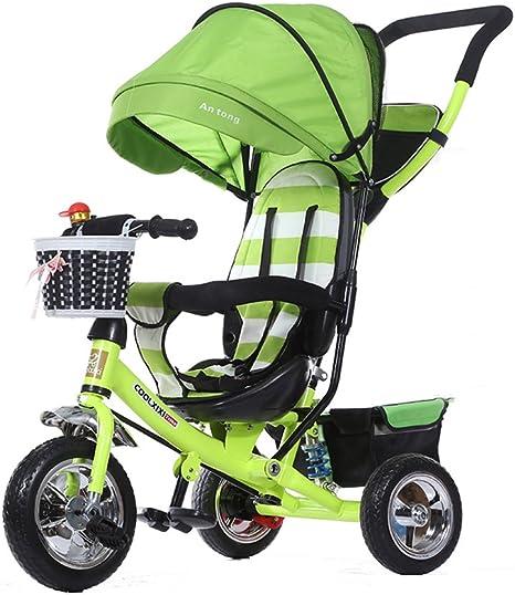 Triciclos Niños Triciclo Plegable/Amortiguador/espumante Rueda Cochecito de bebé Bicicleta para bebés 1-5 años Bicicleta para niños Cochecito de bebé Verde 25kg Montar al Aire Libre para niños: Amazon.es: Deportes y aire libre