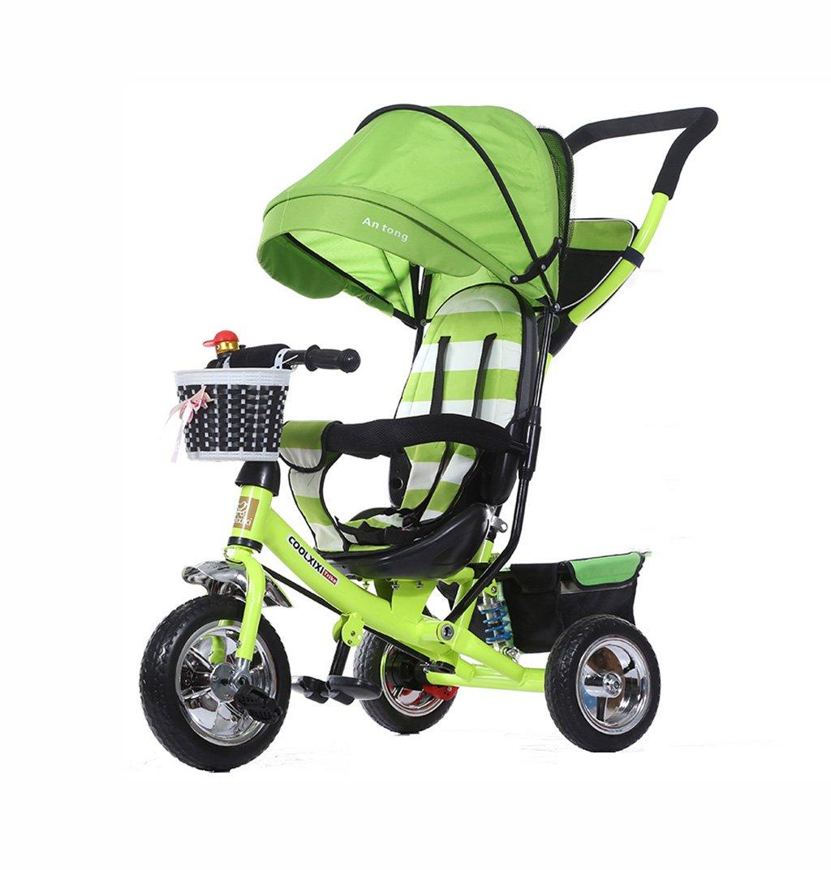 子供の三輪車折りたたみ/衝撃吸収/発泡車輪赤ちゃんバギーベビー自転車1-5歳の子供の自転車赤ちゃんのベビーカー緑25kg B07F33MT3Q