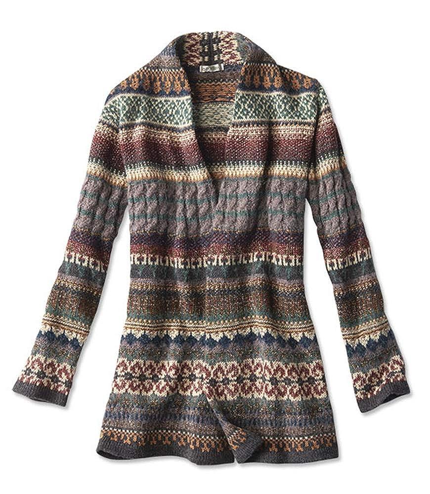 b193472ad Orvis Women s Fair Isle Sweater Coat at Amazon Women s Clothing store