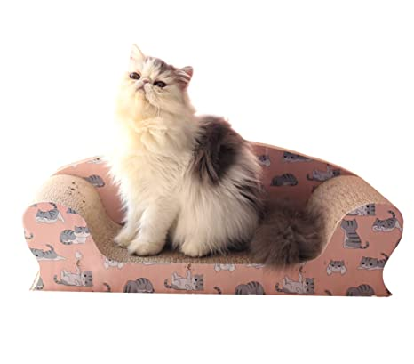 Vivaglory Cat Scratching Sofa Bed, Kitty Cardboard Scratcher Couch, Kitten  Scratch Lounge Pad For
