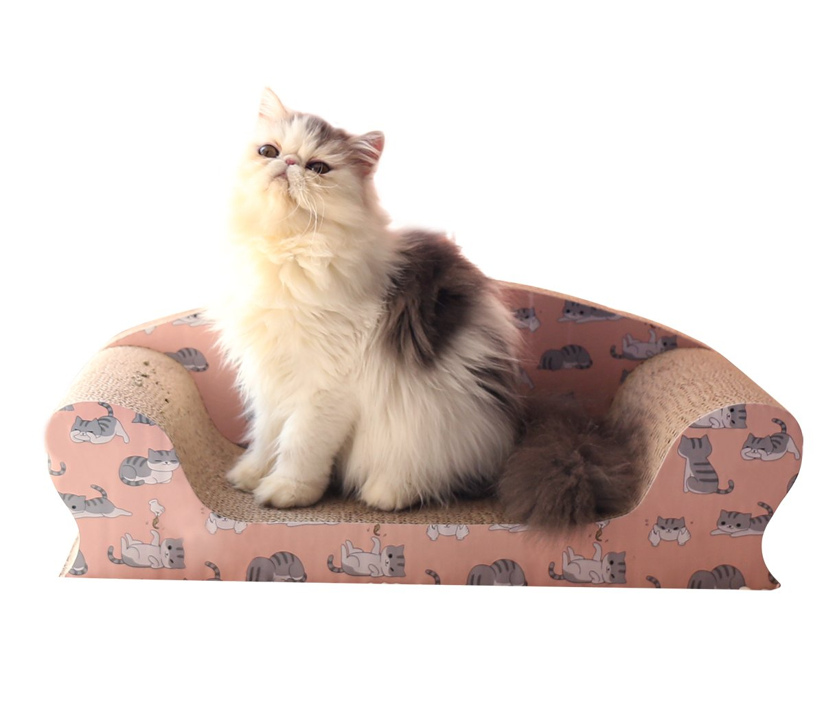 Vivaglory Cat Scratching Sofa Bed, Kitty Cardboard Scratcher Couch, Kitten Scratch Lounge Pad for Rest and Furniture Protect with Catnip, Naughty Cat Print