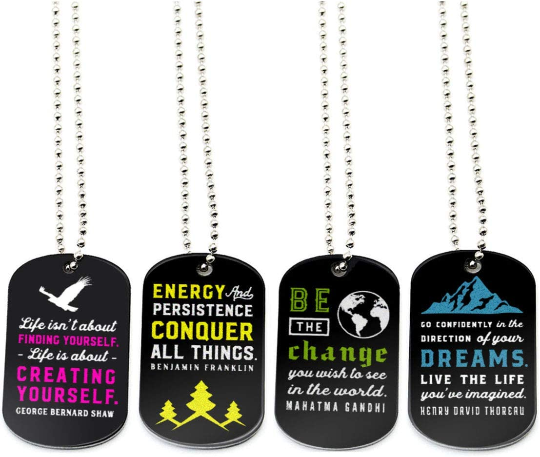 (12-Pack) Motivational Quote Dog Tag Necklaces, Assortment Pack - Wholesale Inspirational Jewelry in Bulk - Giveaway Gifts, Party Favors, Prizes and Awards for Teens Adults Men Women
