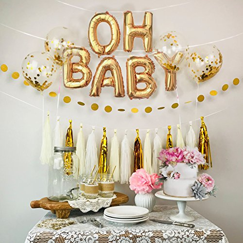 (Baby Shower Decorations Gold & White OH Baby Foil Balloons, Confetti Balloons, Dot Garland & Tissue Tassel Garland [Gender Reveal, Baby Announcement, Maternity Pics, Birthday Party])