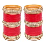 Lucky Jewellery Bangle Set for Women (Red) (1254-G1C1-1016-R24)