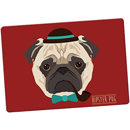 Hipster de animales imán para nevera, Hipster Bohemian Trendy Pug ...