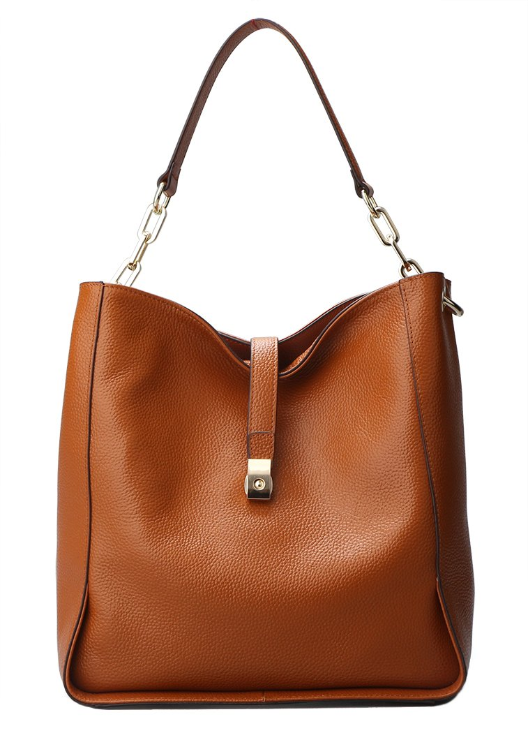 Genuine Leather Handbags for Women Soft Hobo Bag Supple Bucket Bag Totes Shoulder Handbags (brown-)