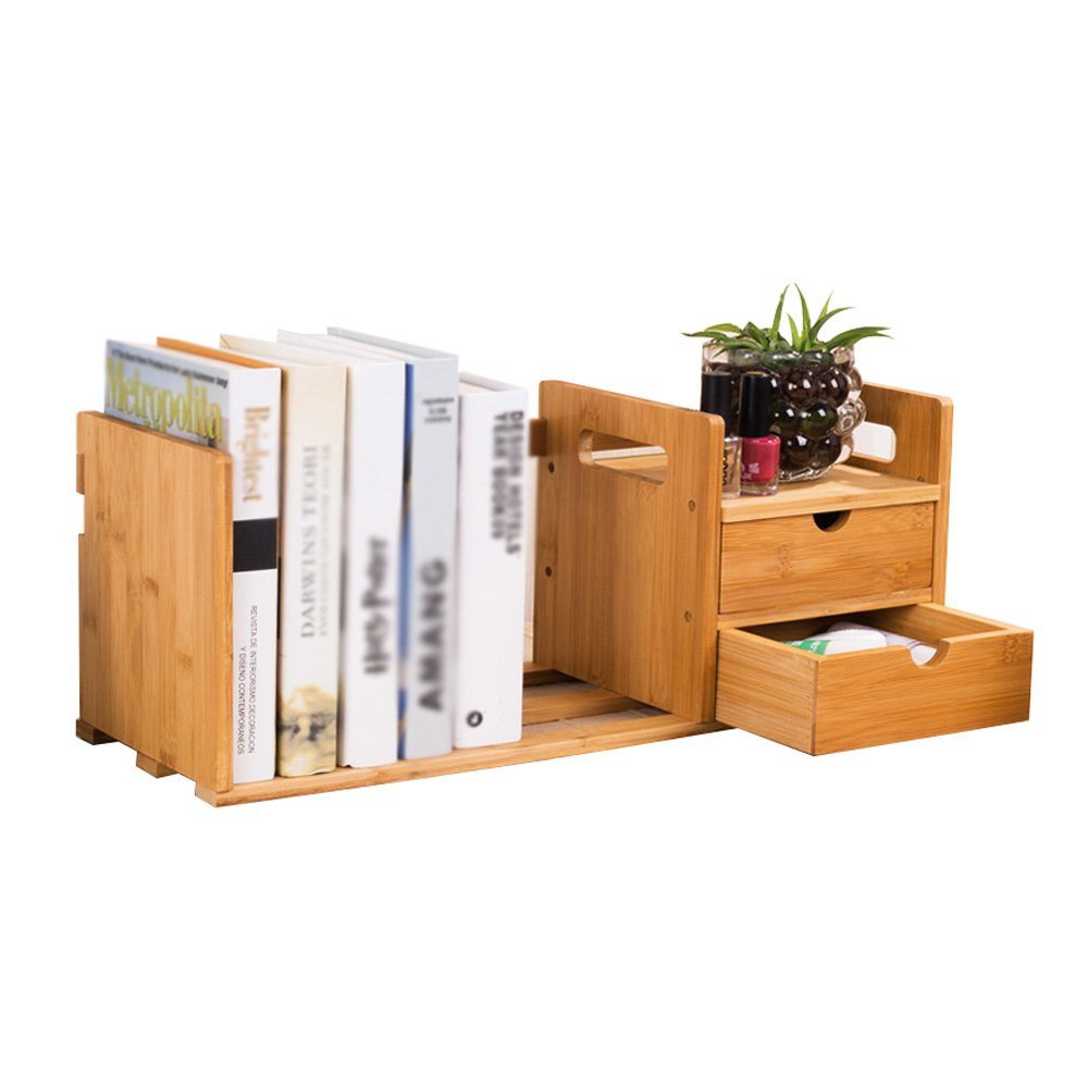2 drawers Multi-Function Cabinet Simple Bamboo Wood Bookshelf, Table Rack Storage Box Office Desktop Finishing Shelf (Design   1 Drawer)
