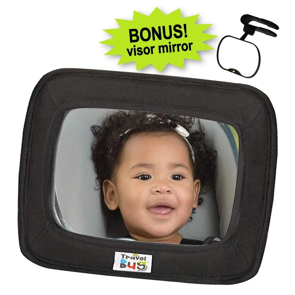 Travel Bug 2-Pack Infant, Baby & Toddler Car Back Seat Jumbo Mirror Wide Angle for Rear & Forward Facing - with Bonus Clip Mirror for Visor - Shatter Resistant by Goldbug