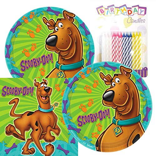 Lobyn Value Pack Scooby Doo Party Plates and Napkins Serves 16 With Birthday Candles