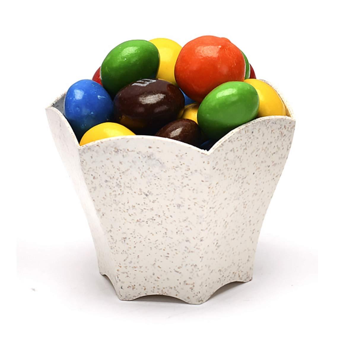 50 Mini Dessert Cups 70 ml (2.4 oz) – Eco-Friendly Wheat Straw – Flower Shape – Ice Cream, Nuts, Candy, Fruit, and Snacks
