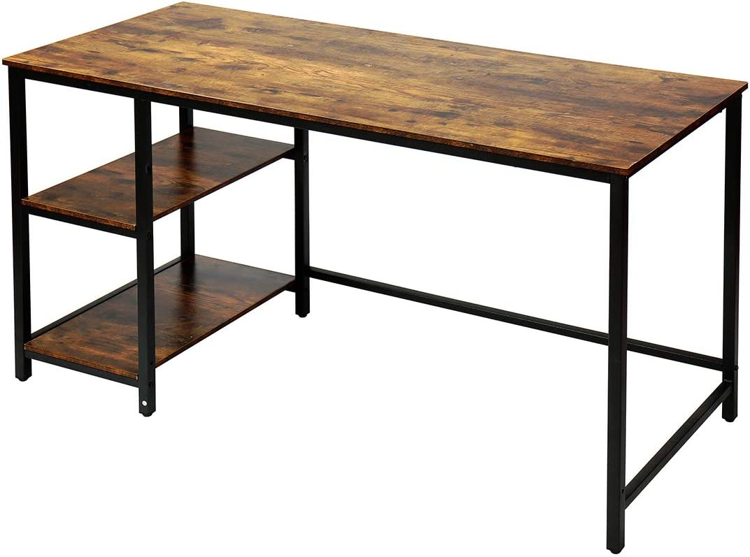 Yusong Computer Desk with Shelves, Workstation for Home Office, Rustic Brown