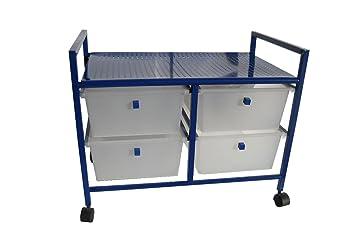 Cajonera plastico-metal 2+2 cajones azul: Amazon.es: Hogar