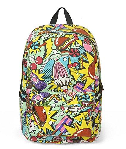 Bromeo® Teens Girl Cute Cartoon Graffiti Style Casual Backpack / School Bag 4 Colors - Hamburger