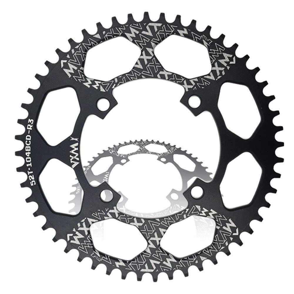 Yzibei Fahrrad-Kettenrad Geschwindigkeit Fahrrad Kettenblatt, BCD 96MM Kettenblatt MTB Fahrrad Schmale Breite Runde Oval Single Chain Ring (Größe : Round 50T)