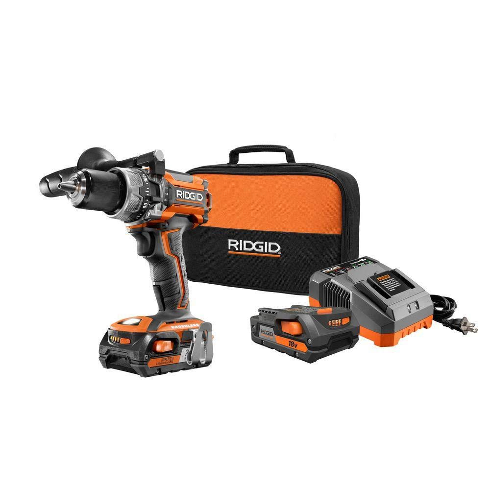 Ridgid ZRR86116K 18-Volt Lithium-Ion 1 2 in. Cordless Brushless Compact Hammer Drill Kit Renewed
