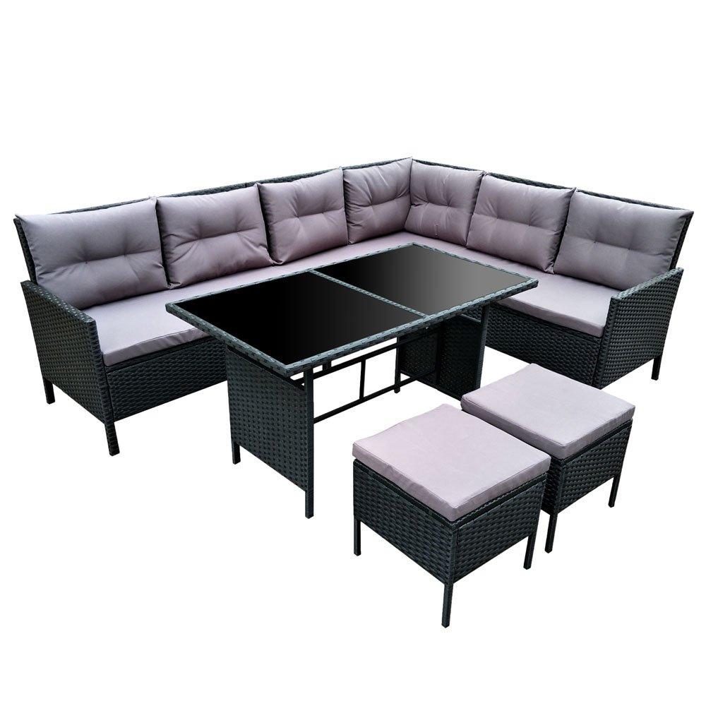 Amazon.de: POLY RATTAN Set Gartenmöbel Rattan-Lounge Gartenset Sofa ...