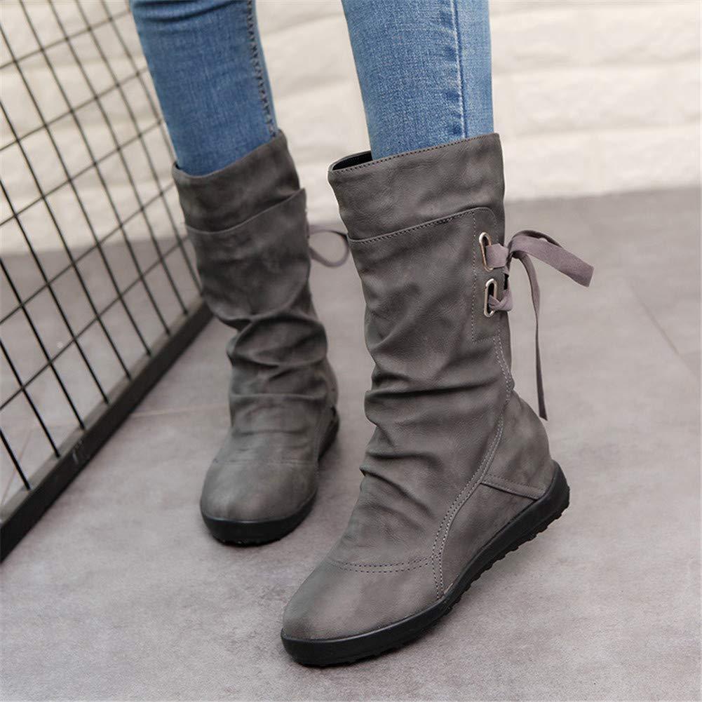 8d8200ef272 Botines Mujer Invierno Otoño Motorista Hebilla Botas Planos Tobillo Cuña  Calzado Casual Zapatos con Tacon Aumento 3cm Negro Marrón Gris Talla 34-43:  ...