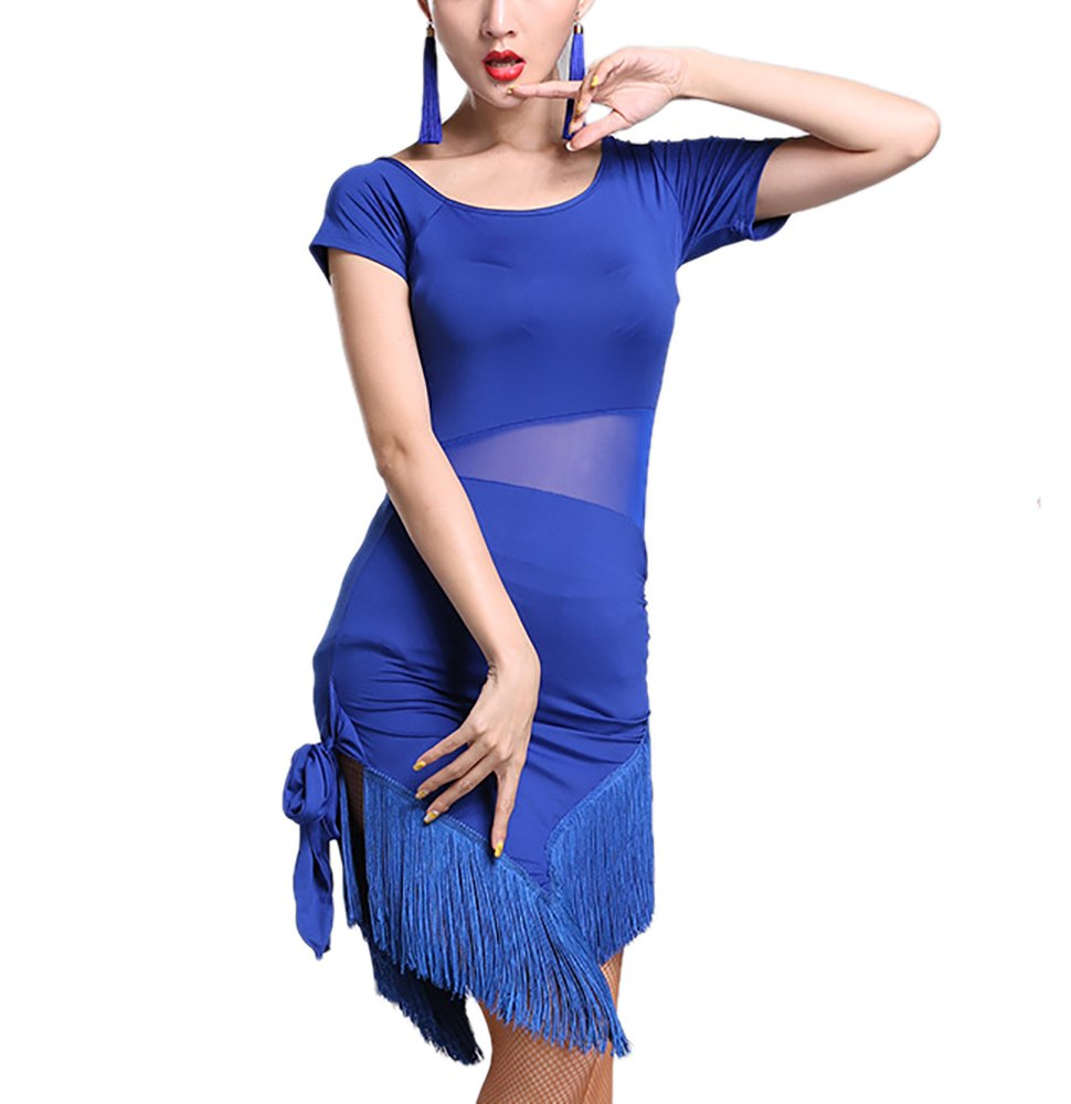 Latin Salsa Ballroom Performance Dance Dresses Attire Adult Costume Outfit Women, Blue, Small by Whitewed