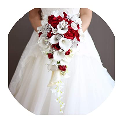 ae66b9e2af1 Image Unavailable. Image not available for. Color  Lady Night Artificial  Flowers Waterfall Wedding Bouquets with Crystal Bridal Brooch Bouquets  Brides ...