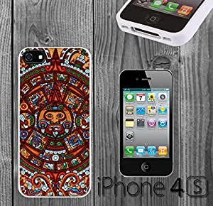 Tribal Retro Vintage Aztec Calendar Custom made Case/Cover/skin FOR iPhone 4/4s - White - Rubber Case ( Ship From CA) by mcsharks