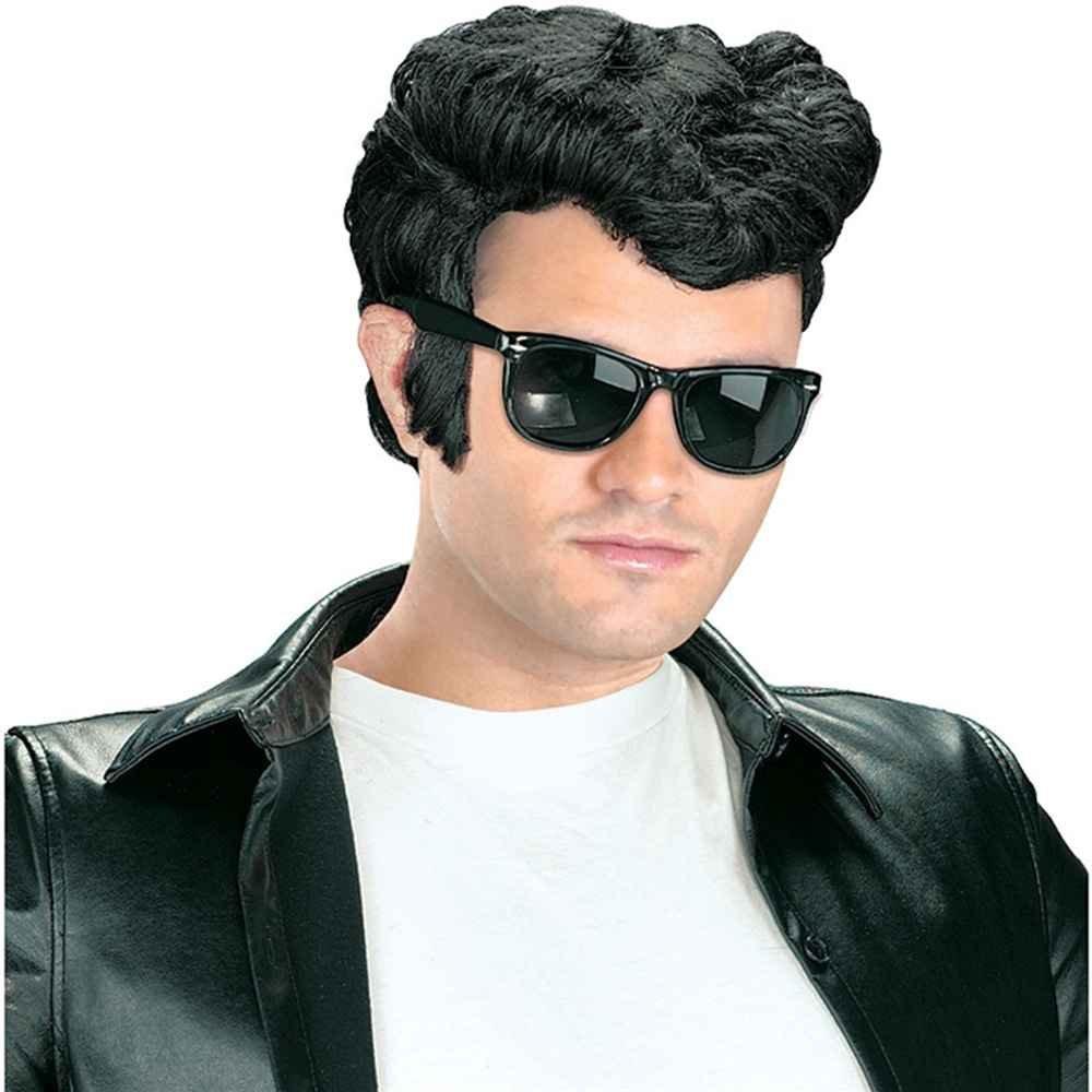 Estremamente Parrucca uomo nera corta Grease, Elvis, Rockabilly, Anni 50  NZ82