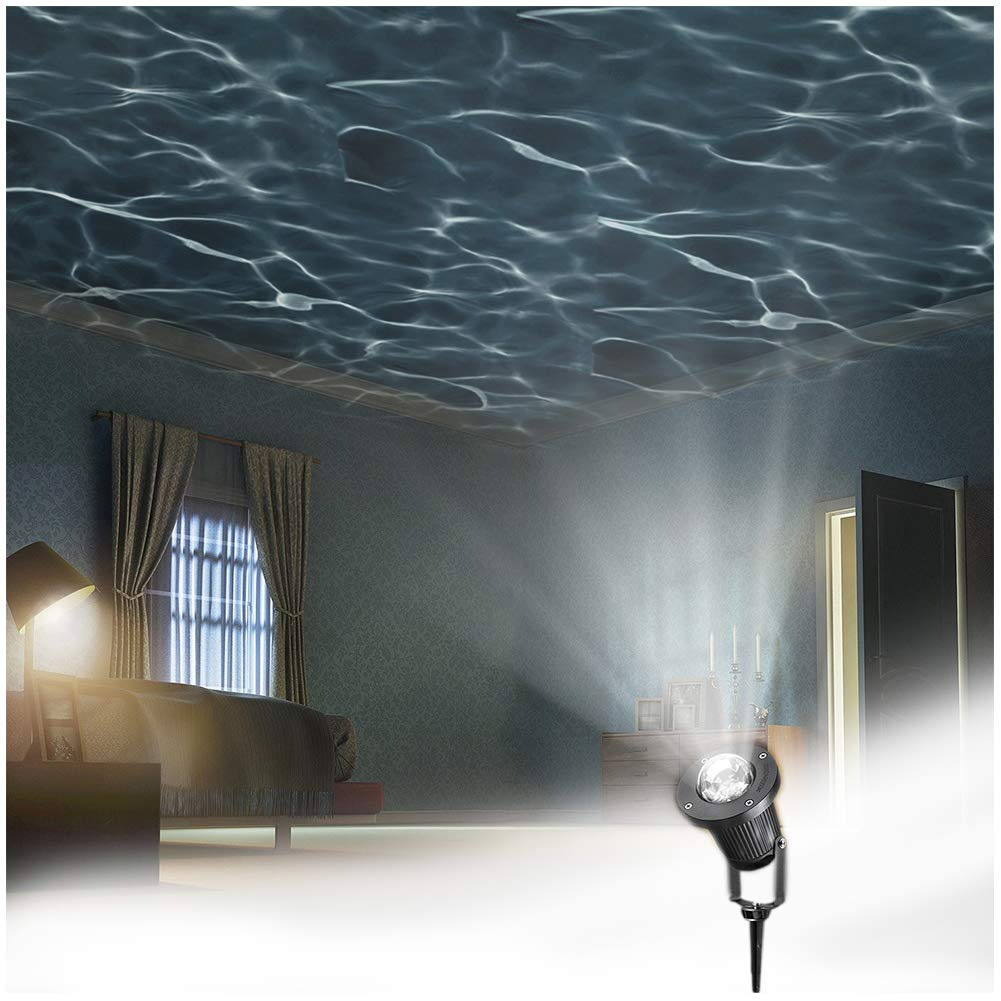 Zeonetak White Automatically Moving Water Wave LED Projector Sleep Soothing Baby Room Night Light Spotlight for Home Party Wedding Decoration(Projection Area 50-80 sq ft) Decoration LED Light