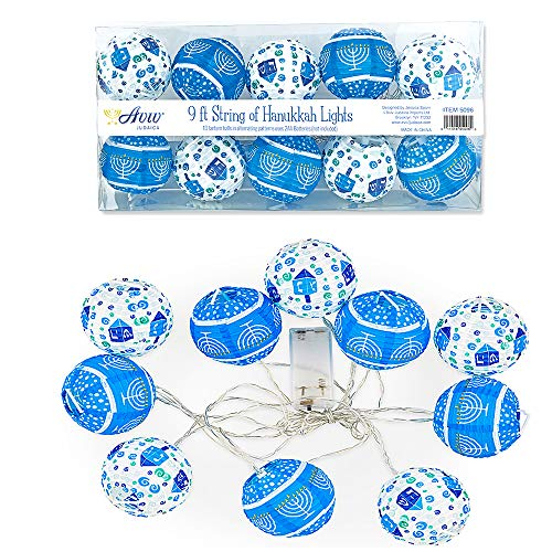 Aviv Judaica LED String Lights Hanukkah Decorations - 10 Lantern String Lights - LED Battery Powered - 2-AA Battery Powered not Included -