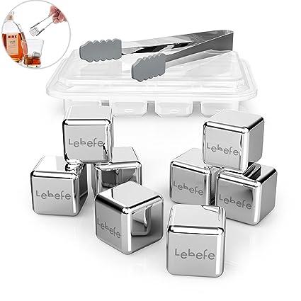 Lebefe Cubitos Enfriadores set de regalo-8 hielo de acero inoxidable y 1 pinzas para con caja de almacenaje, categoría alimenticia reutilizable de ...