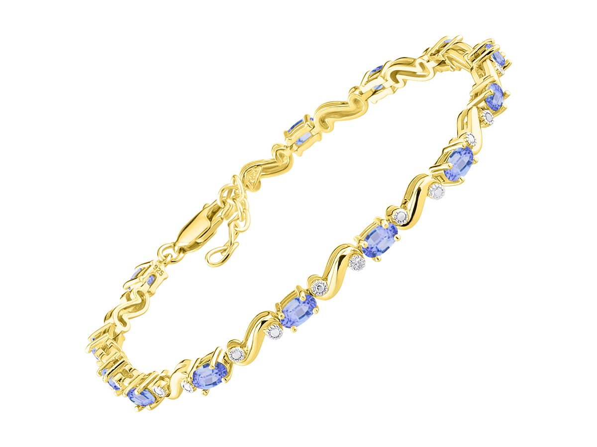 Stunning Tanzanite & Diamond S Tennis Bracelet Set in Yellow Gold Plated Silver - Adjustable to fit 7'' - 8'' Wrist