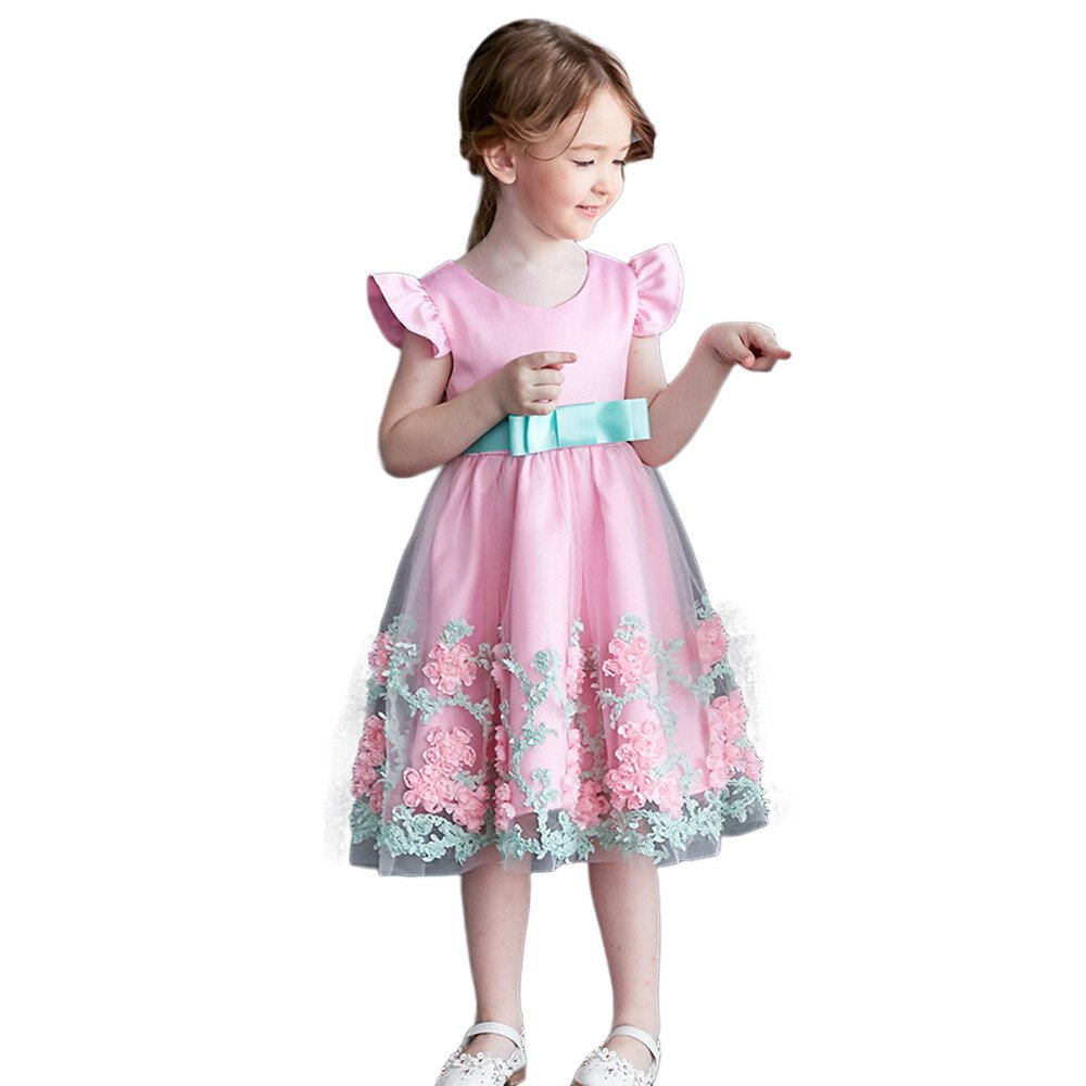 Lurryly Baby Girl Princess Floral Pageant Gown Birthday Party Wedding Dress 1-5 T