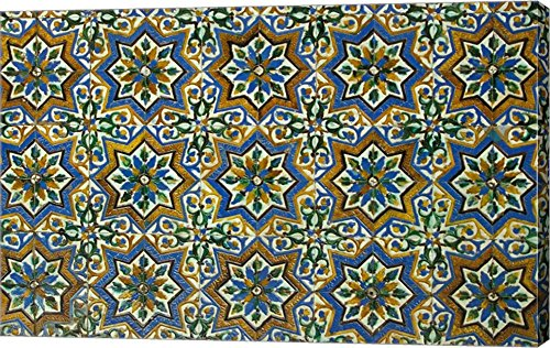 Moorish Mosaic Azulejos (ceramic tiles), Casa de Pilatos Palace, Sevilla, Spain by John & Lisa Merrill / Danita Delimont Canvas Art Wall Picture, Gallery Wrapped with Image Around Edge, 39 x 25 inches by Great Art Now