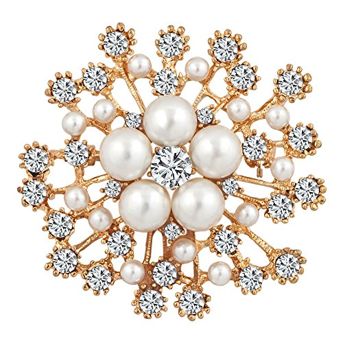 ShinyJewelry Flower Artificial Pearls Brooch Pins For Women (Yellow)