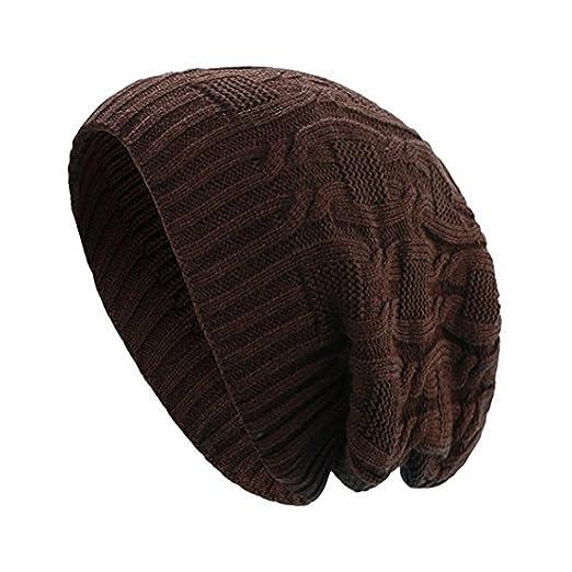 b2734c78ecc Opromo Unisex Trendy Warm Slouchy Knit Oversized Long Beanie Cap Winter Ski  Hat-Coffee