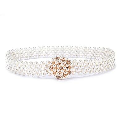 revendeur 57706 21b77 Femmes Élégant Perle Diamants Taille Chaîne Robe Élastique ...
