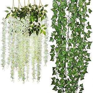 Cocodeko 6 Piece Artificial White Faux Wisteria Vine and 5 Pack Artificial Ivy Leaf Plants Vine Hanging Garland Fake Foliage Flowers Arrangements Bridal Home DIY Floor Garden Office Wedding Decor 79