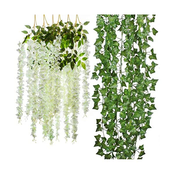 Cocodeko 6 Piece Artificial White Faux Wisteria Vine and 5 Pack Artificial Ivy Leaf Plants Vine Hanging Garland Fake Foliage Flowers Arrangements Bridal Home DIY Floor Garden Office Wedding Decor