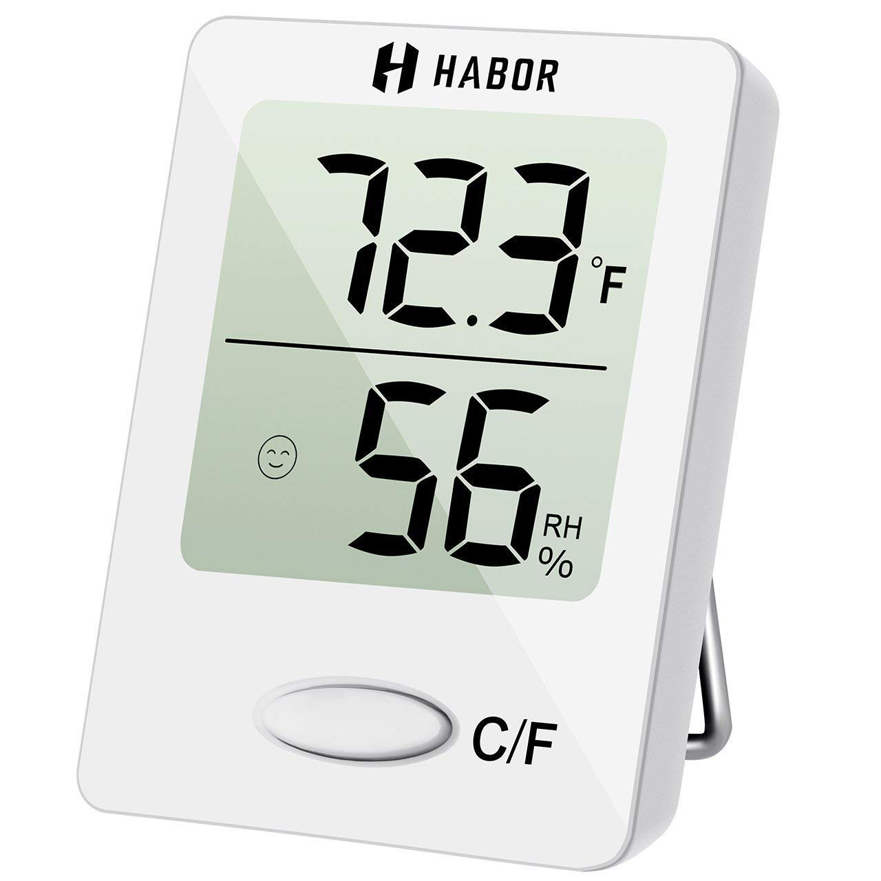 Hygrometer Thermometer,Habor Digital Hygrometer Indoor Outdoor Thermometer,Air Humidity Monitor with Temperature Gauge Humidity Meter, LCD Screen Multifunctional Hygrometer for Babyroom,Humidifiers ,Dehumidifiers, Greenhouse ,Basement -White HPHBHM118AW-CA