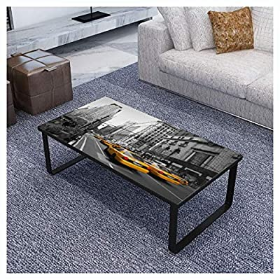 HomyDelight Coffee Table, Coffee Table with Glass Top Rectangular