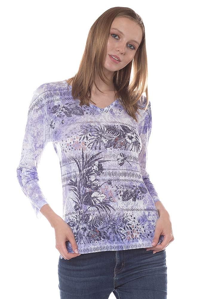 High Low Hem Side Slit Katrina Marie Poly Rayon Burn-Out Fabric Printed Top /¾ Sleeve.