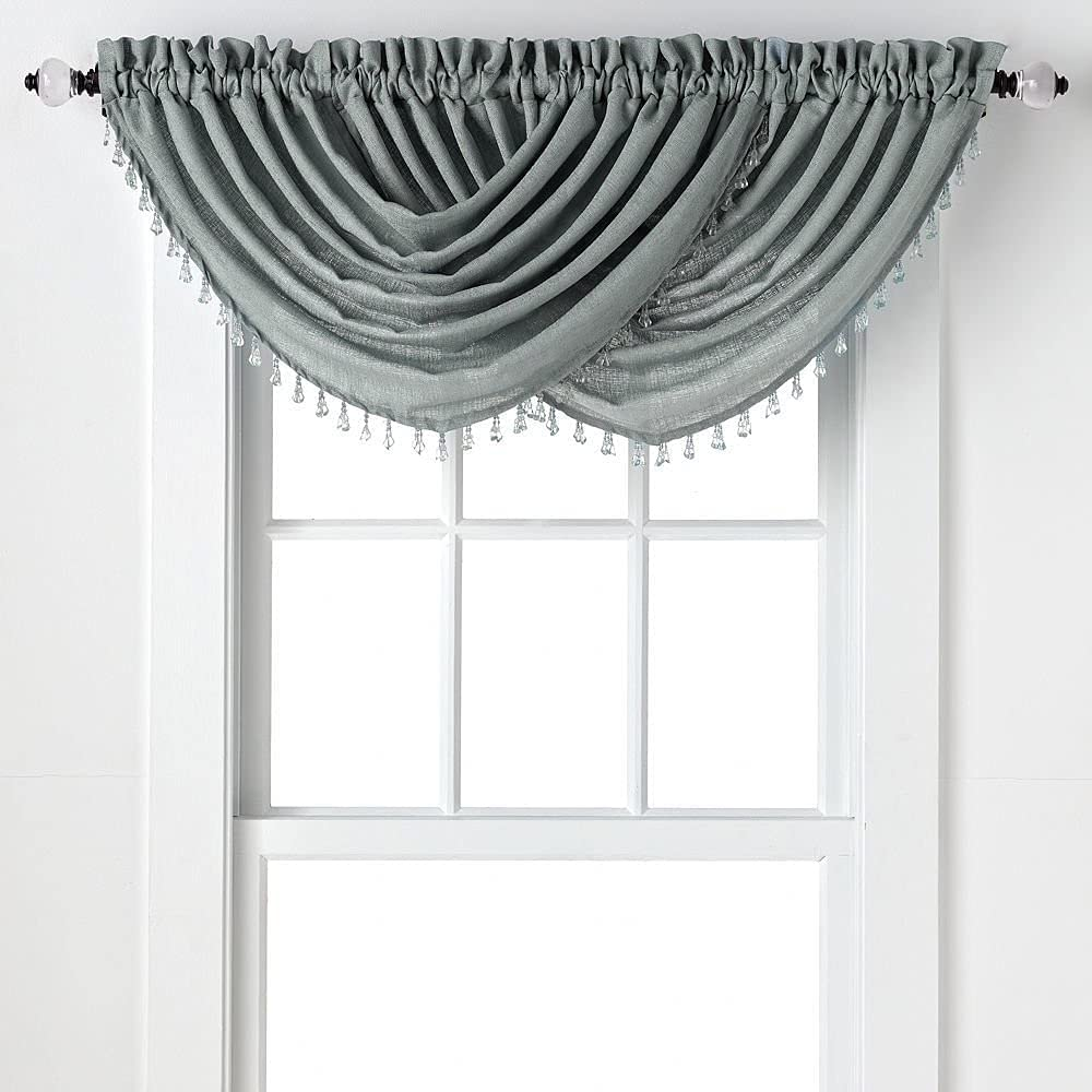 Regal Home Collections 2-Pack: Beaded Emerald Crepe Waterfall Valances - Assorted Colors (Grey)
