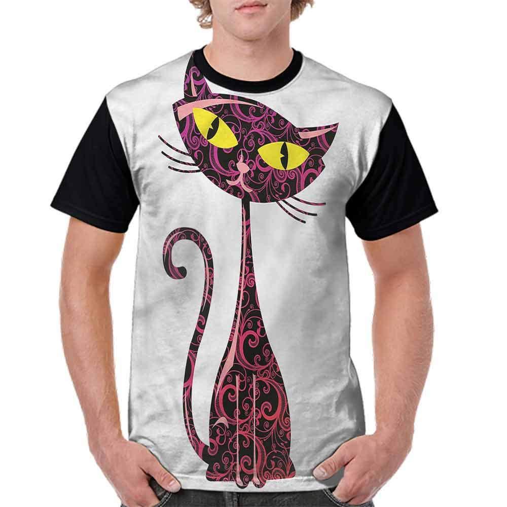 Unisex T-Shirt,Big Eyes Sitting Cat Figure Fashion Personality Customization