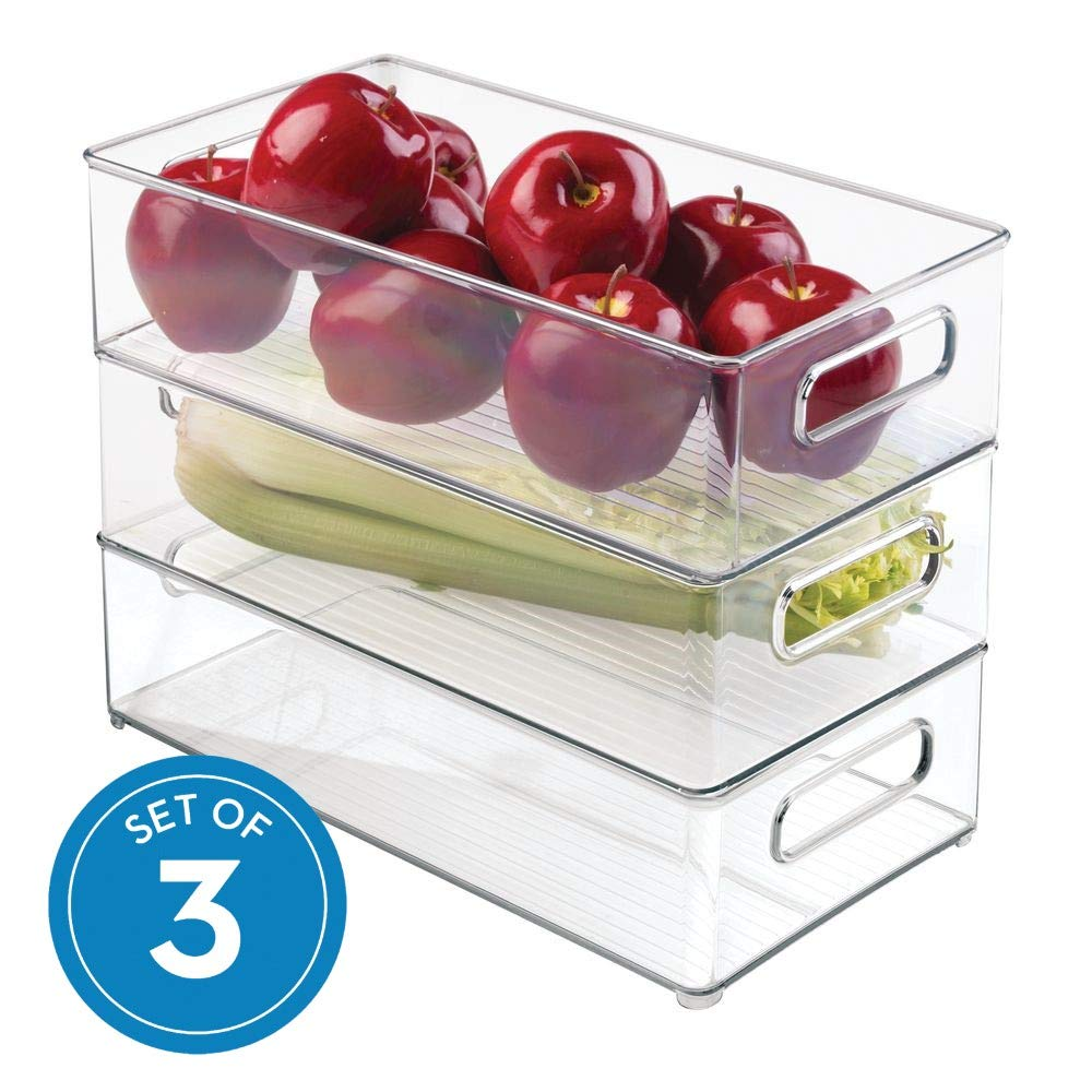 "InterDesign Plastic Refrigerator and Freezer Storage Bin with Lid, BPA- Free Organizer for Kitchen, Garage, Basement 8"" x 4"" x 14.5"", Set of 3 Clear"